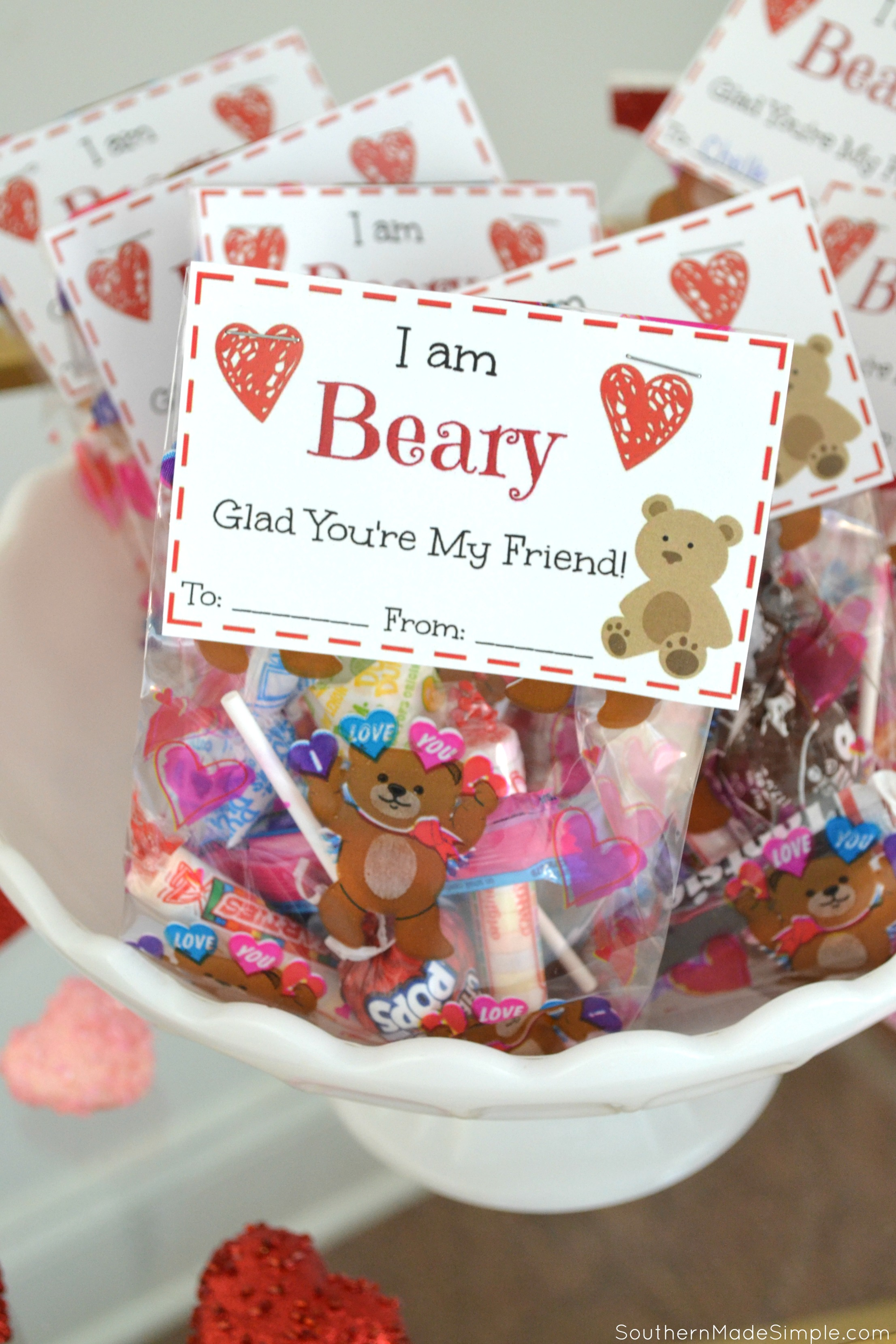 Free Printable: I'm Beary Glad You're My Friend Valentine