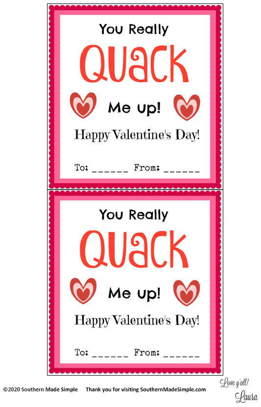 Free Printable: Rubber Ducky Valentine Cards