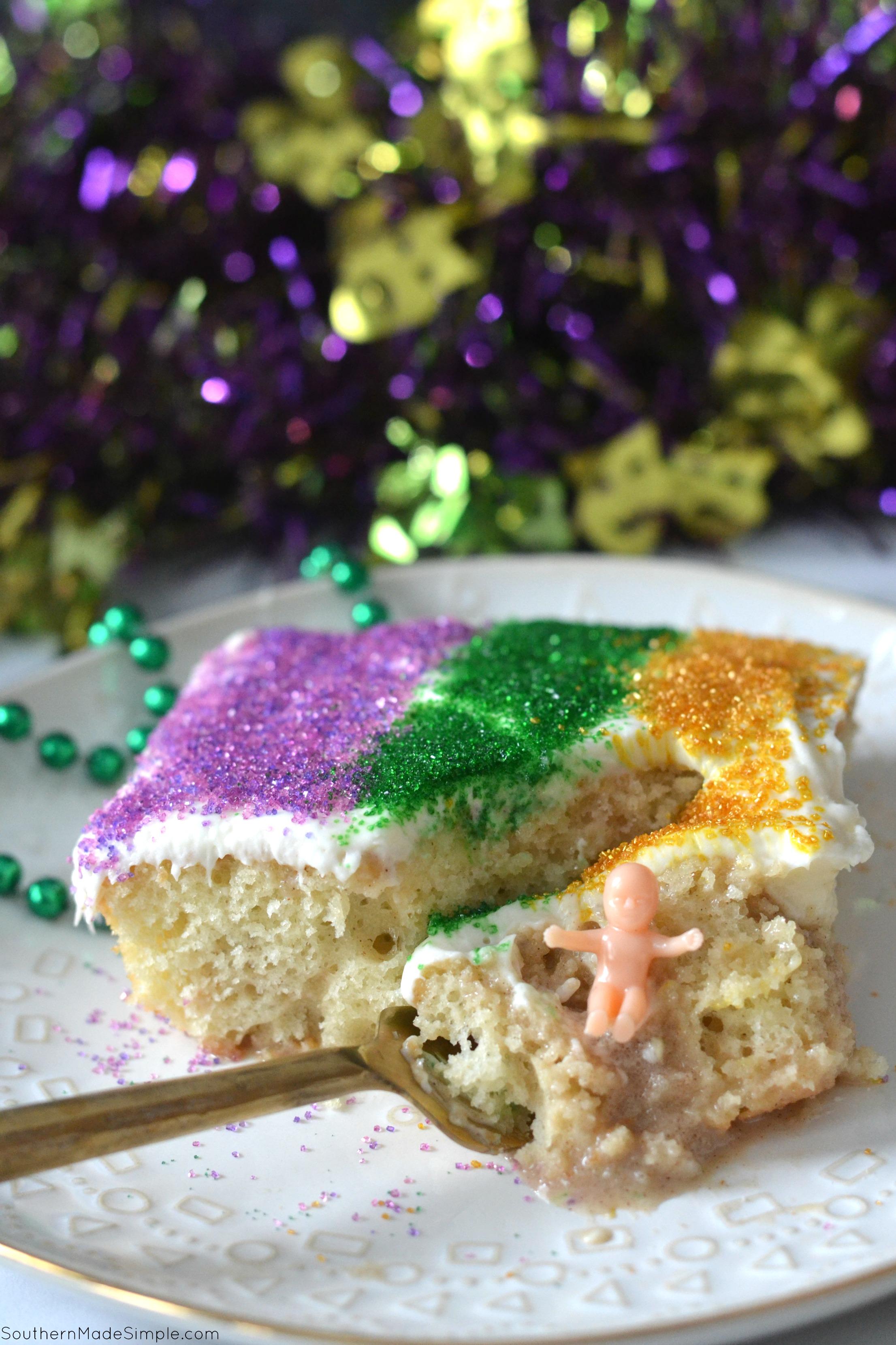 Mardi Gras King Poke Cake