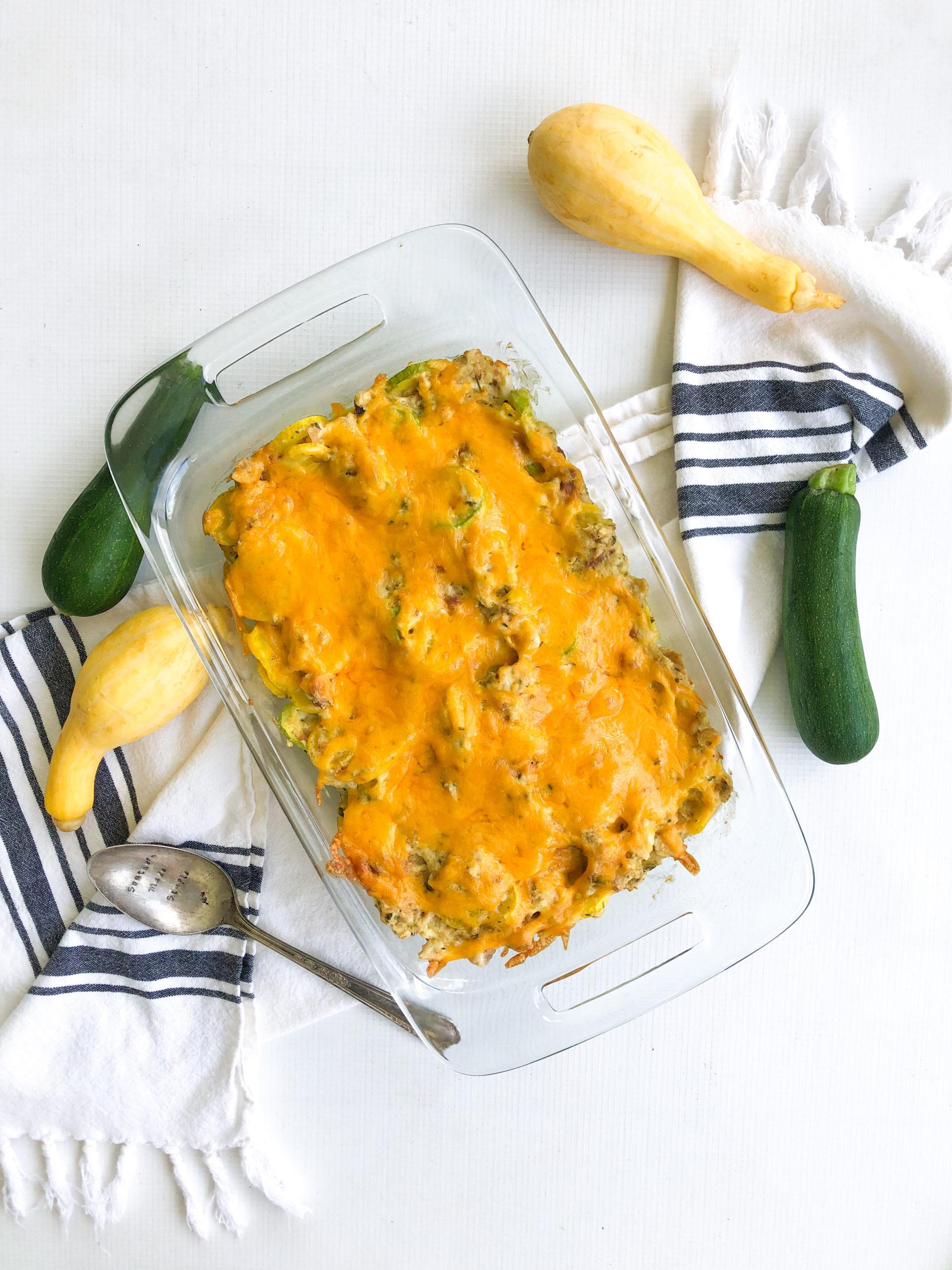 Squash and Zucchini Stuffing Casserole