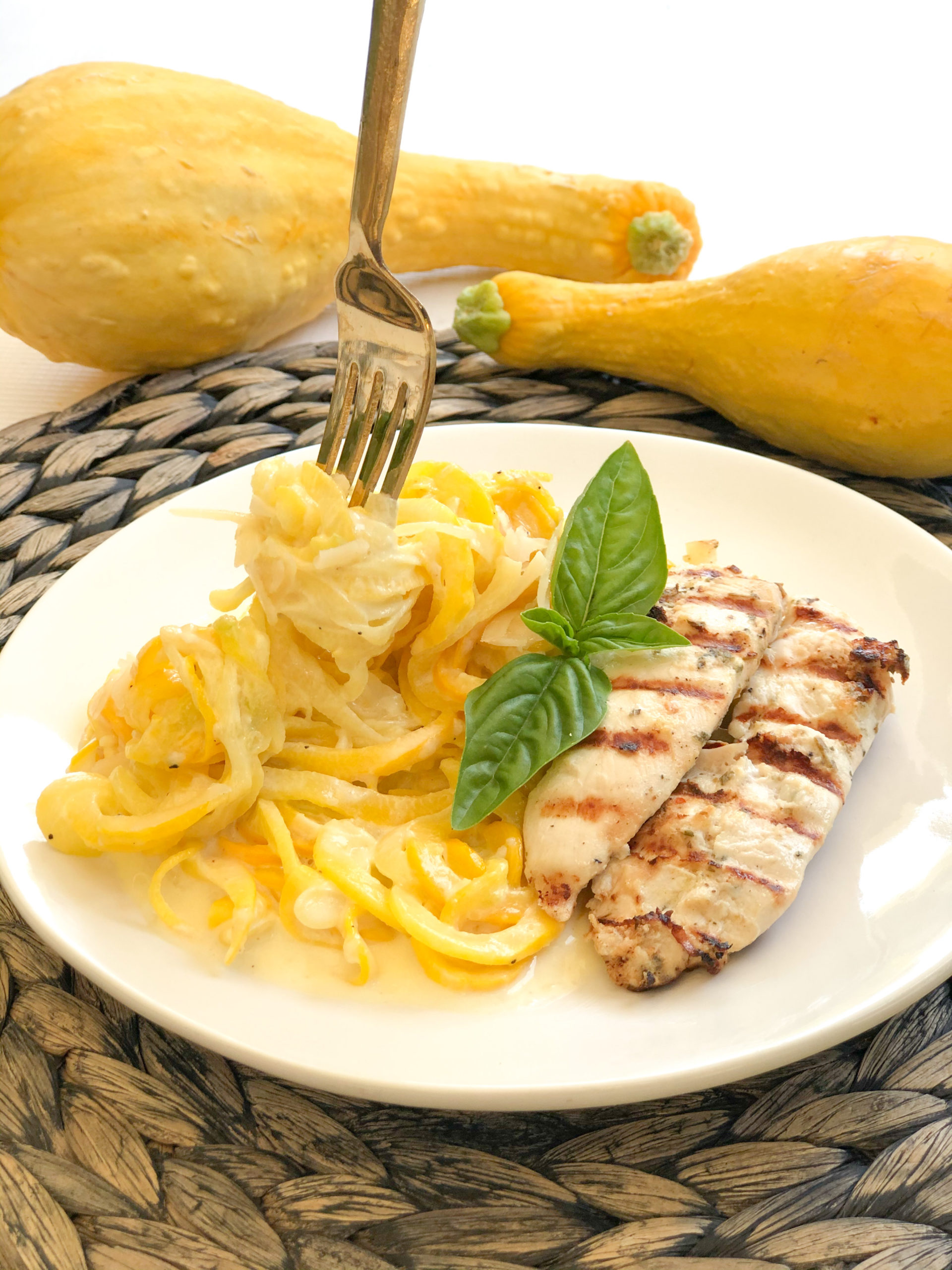 Yellow Squash Chicken Alfredo