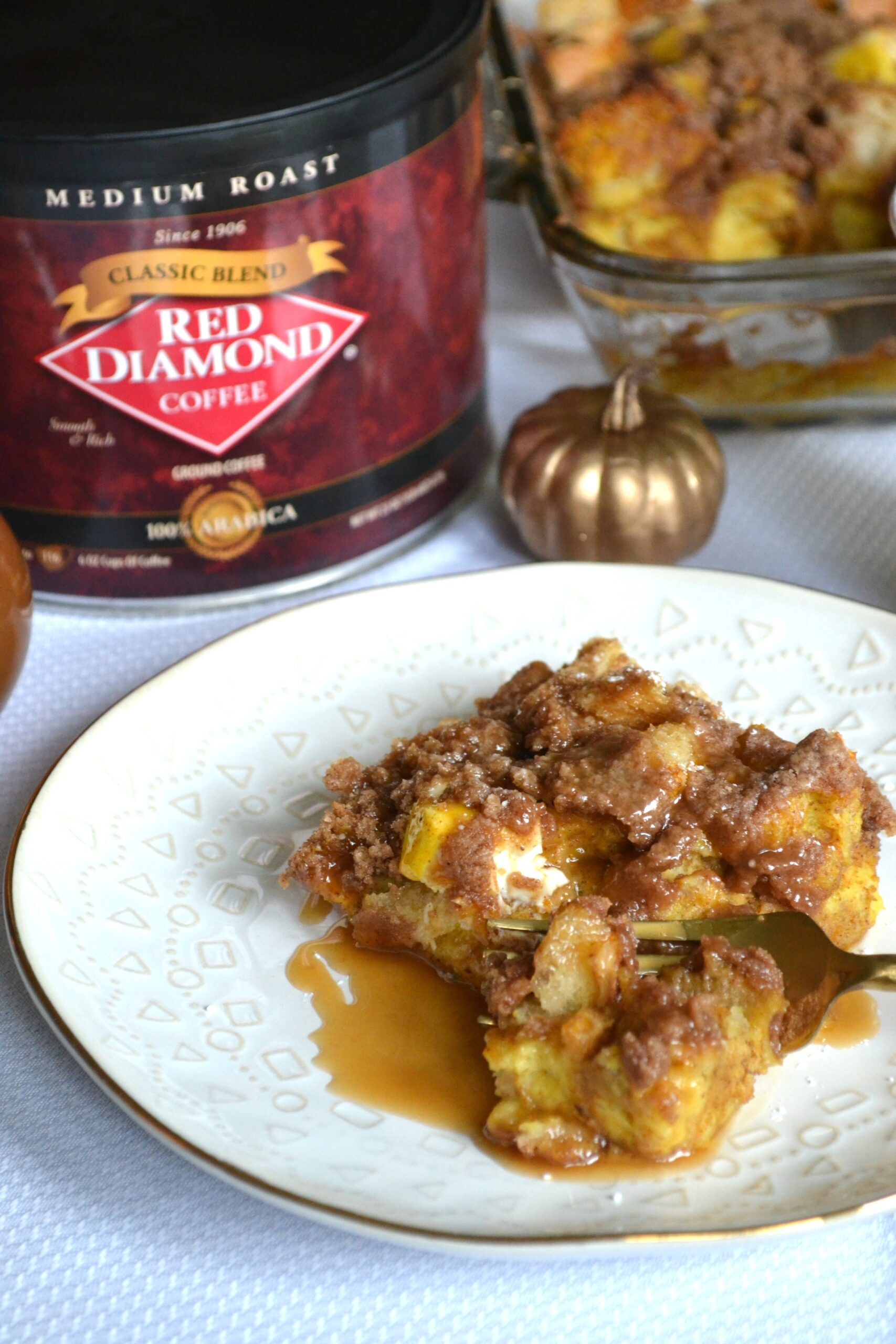 Pumpkin Cream Cheese French Toast Bake with Salted Caramel Coffee Sauce