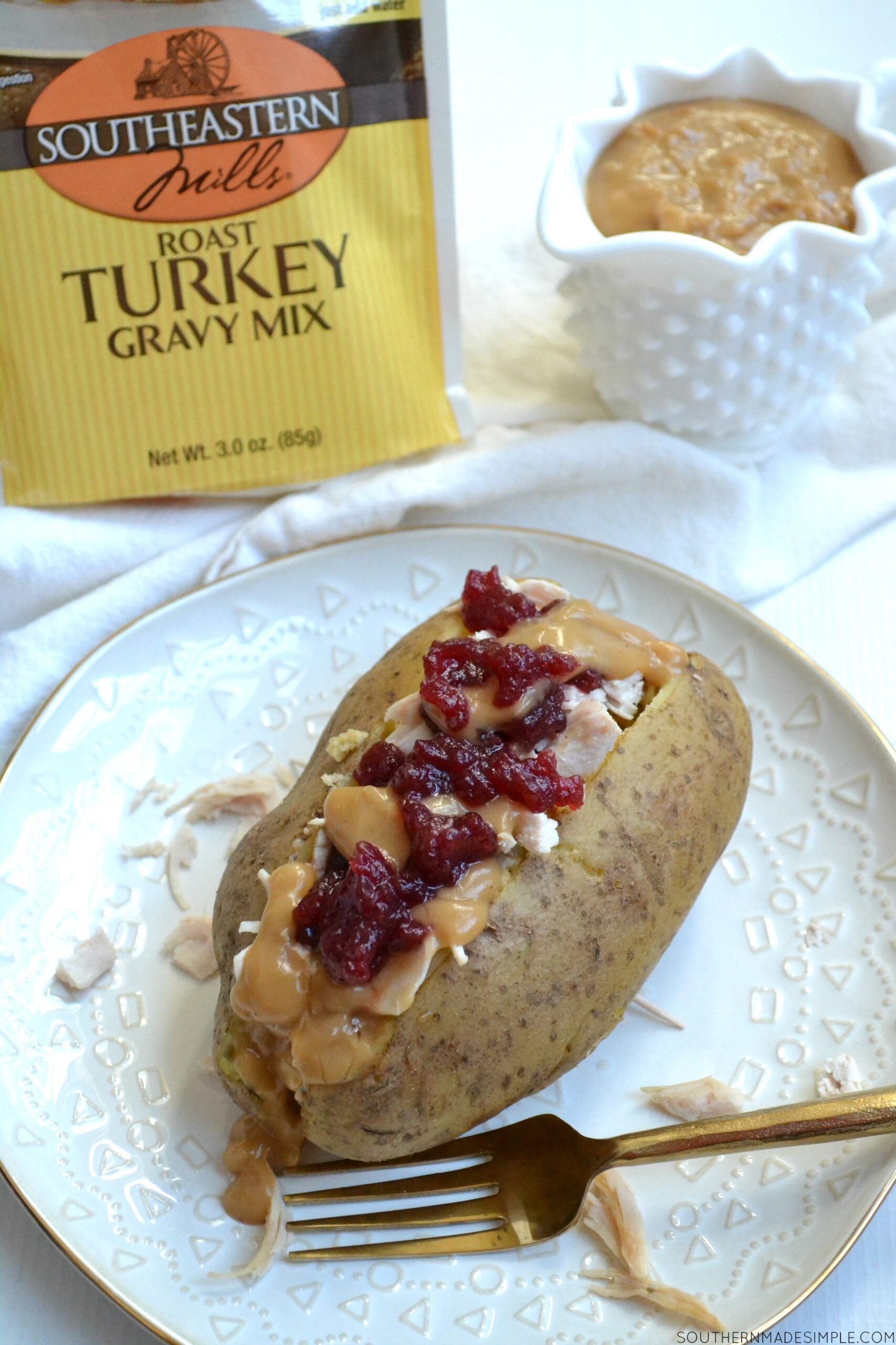 Comfort Food With A Twist: Loaded Turkey & Dressing Baked Potato