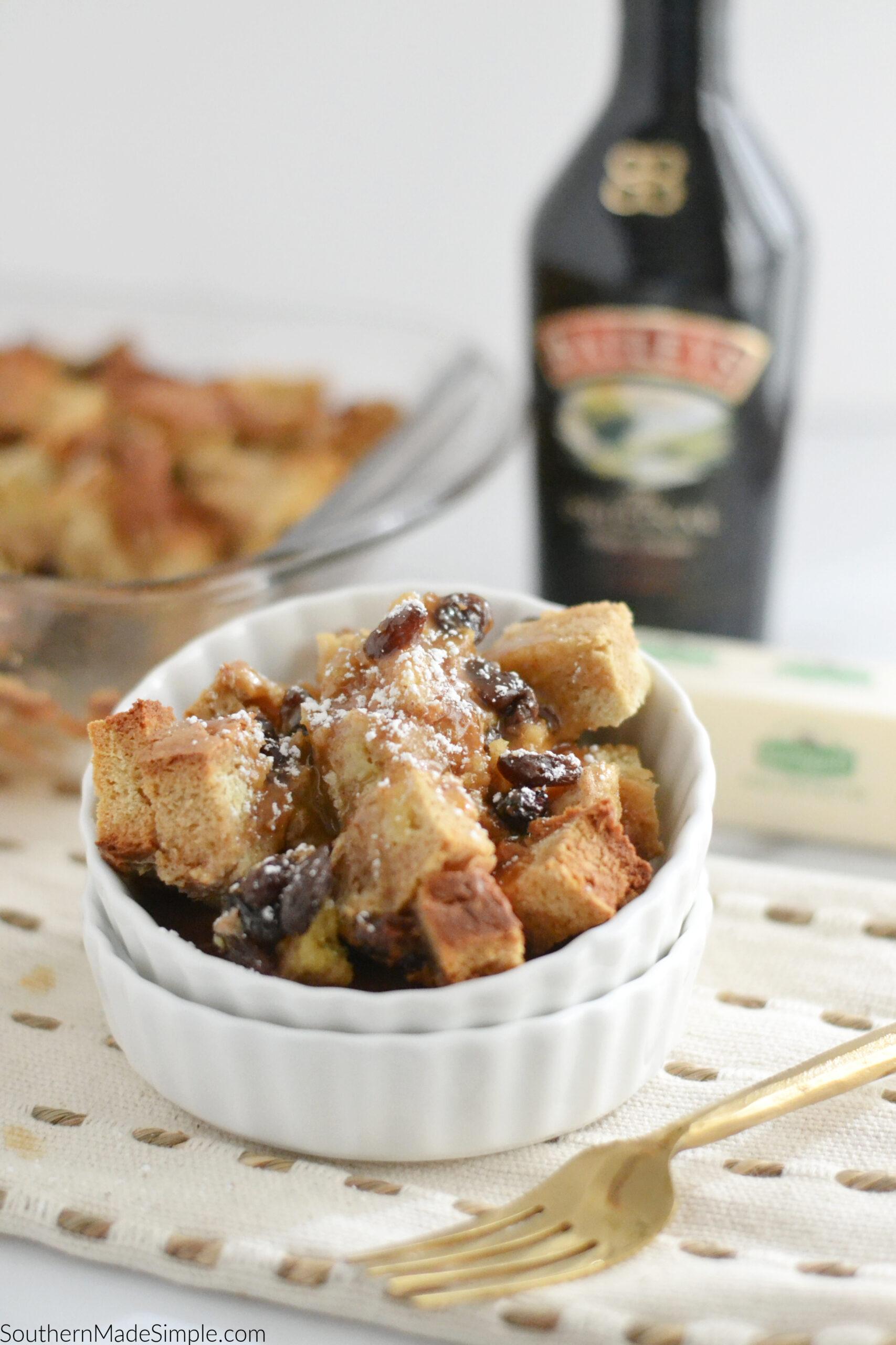 Irish Soda Bread Pudding with Bailey's Caramel Cream Sauce