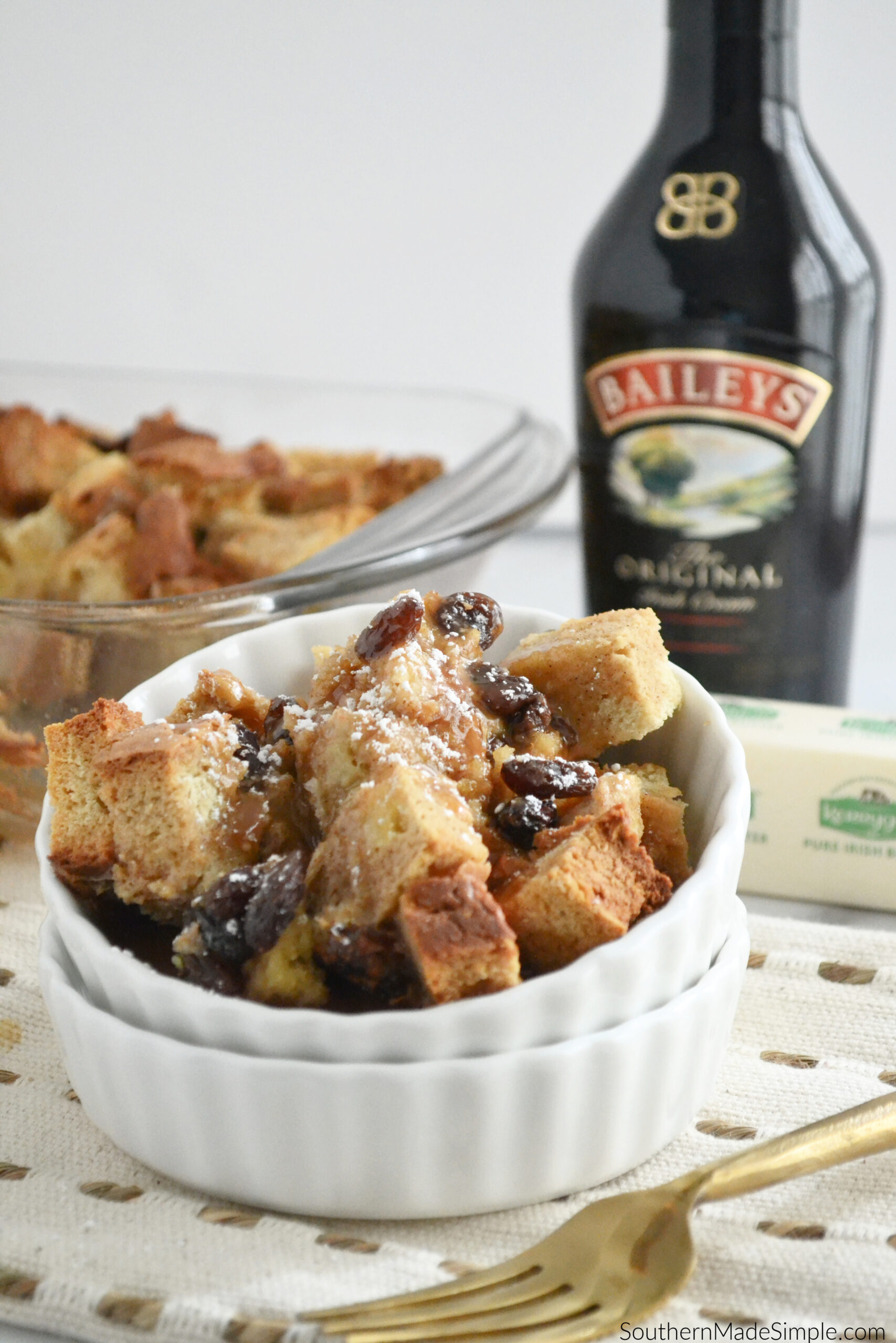 Irish Soda Bread Pudding with Bailey's Caramel Cream Sauce