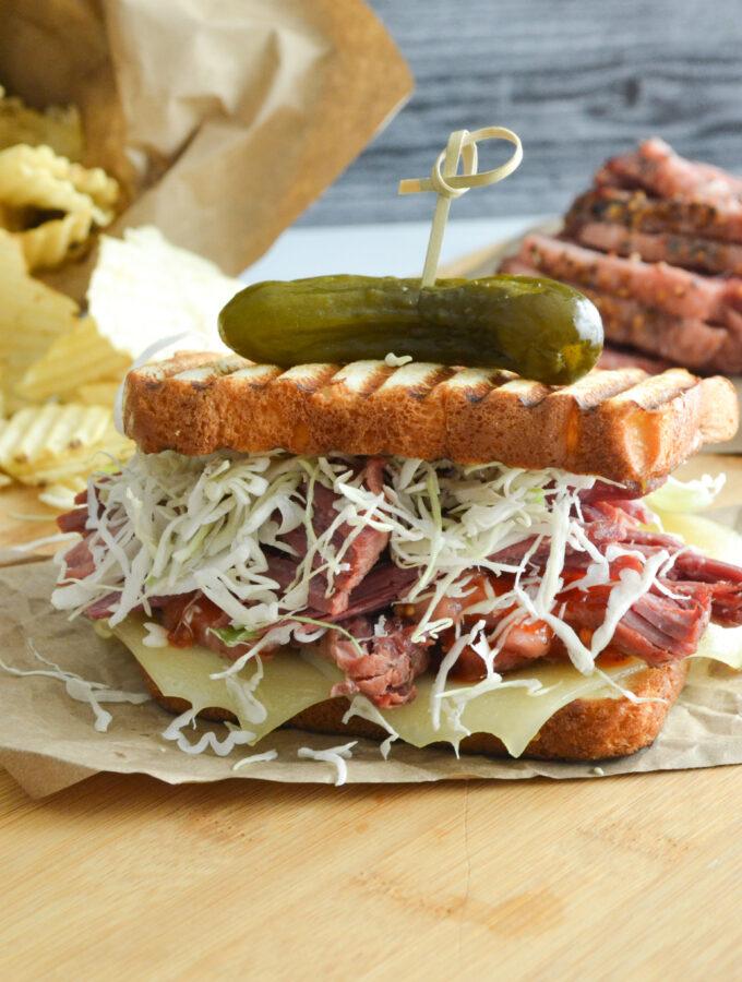 Corned Beef Patty Melt on King's Hawaiian Bread